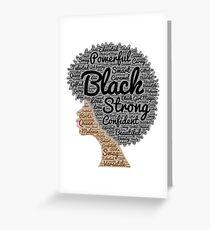 Tarjeta de felicitación Mujer negra, pelo natural, palabras, en, Afro