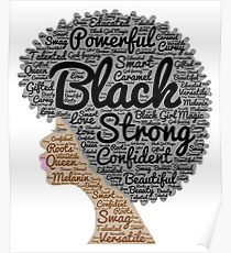Black Woman Natural Hair Words In Afro Poster