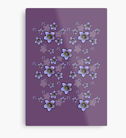 Purple Wildflower 2 with Black Border Metal Print
