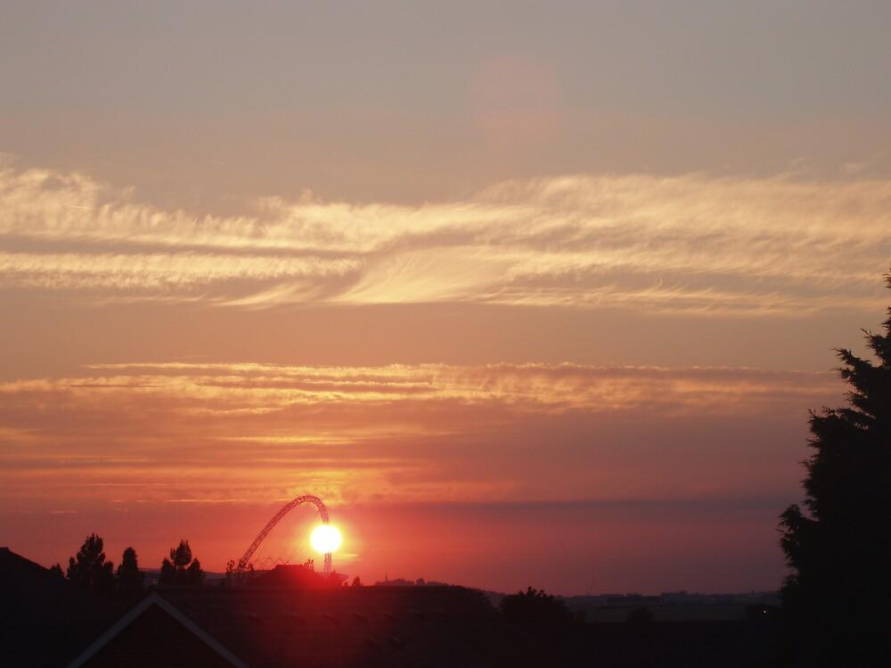 sunset over Wembley Stadium 3 by Lindymrb