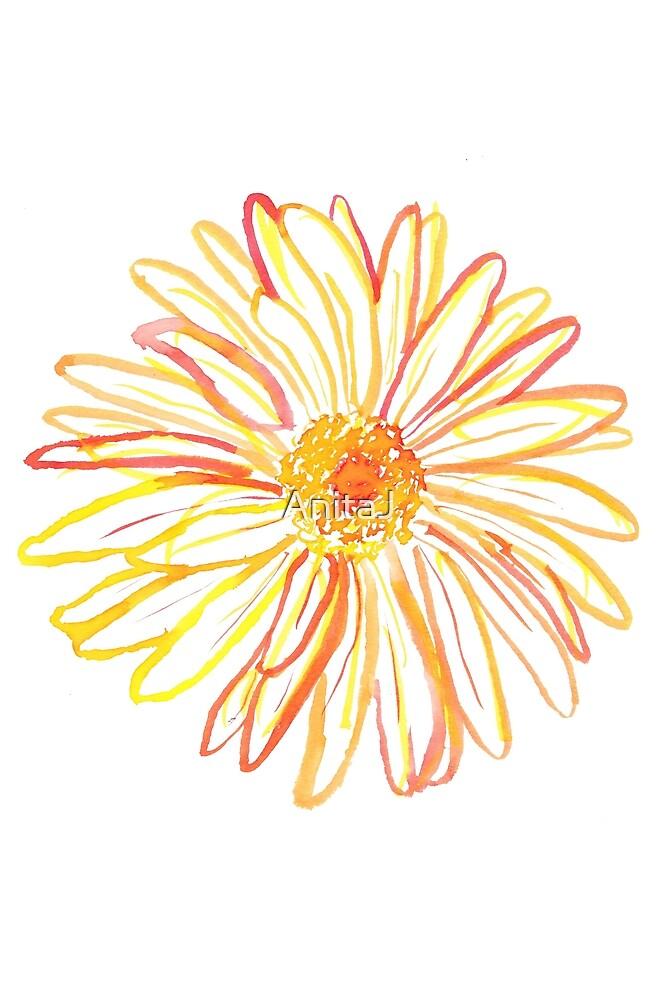 Watercolour Daisy - Yellow/Red by AnitaJ