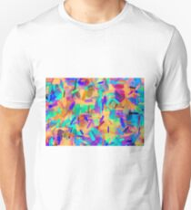 psychedelic splash painting abstract in orange purple green pink blue Unisex T-Shirt