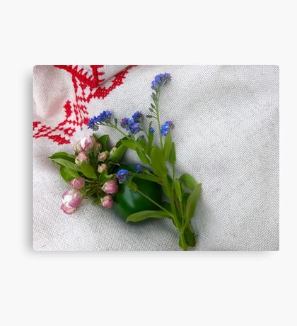 Green Easter Egg with Flowers Metal Print