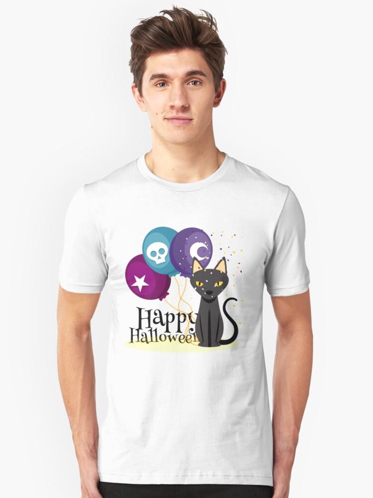 Happy Halloween - Star Skull Moon Cat Balloon Holiday Unisex T-Shirt Front