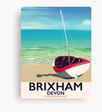 Brixham beach Devon vintage travel poster Canvas Print