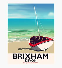 Brixham beach Devon vintage travel poster Photographic Print