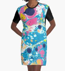 Ebru Marbling - Summer Vibes Graphic T-Shirt Dress