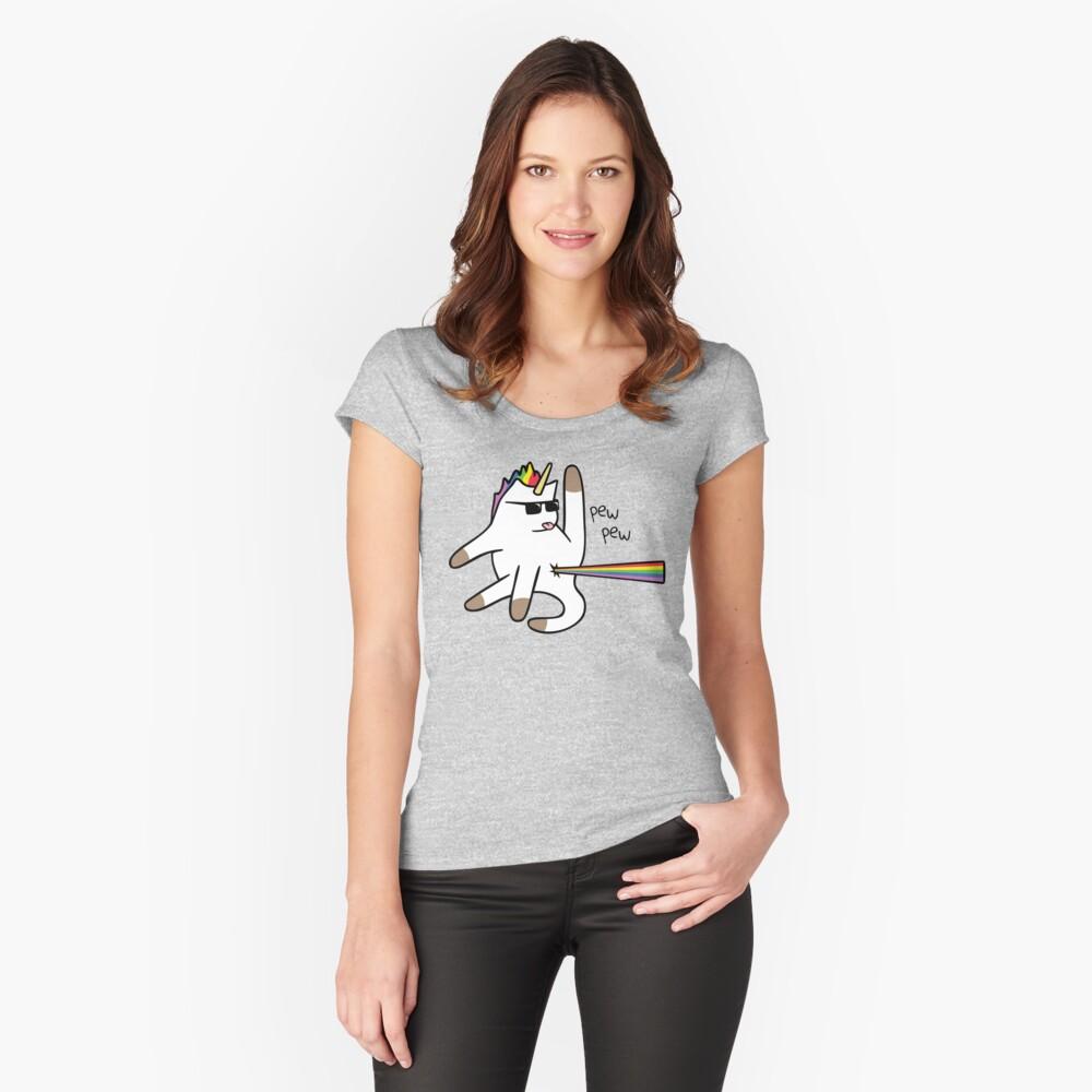 Unicorn Cat Rainbow Butt Laser Camiseta entallada de cuello ancho