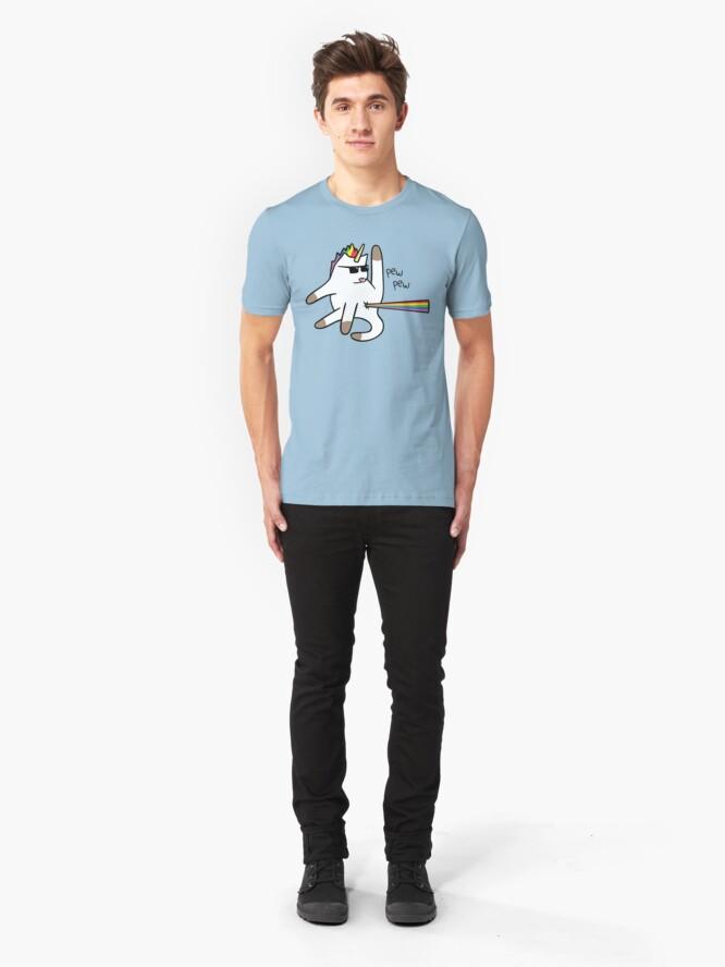 Vista alternativa de Camiseta ajustada Unicorn Cat Rainbow Butt Laser