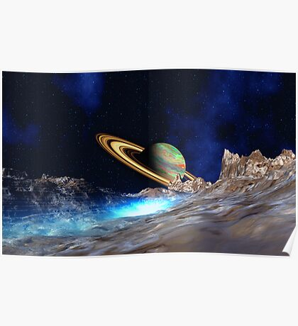 Saturn View - from Titan Poster