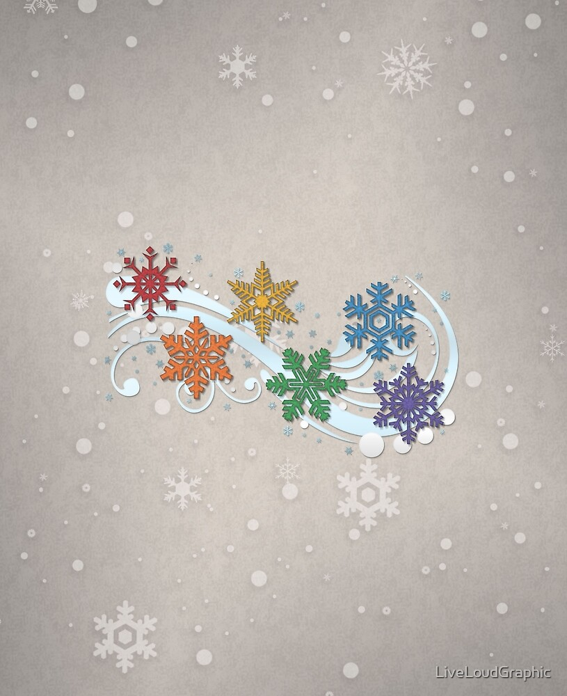 Rainbow Snowflakes by LiveLoudGraphic