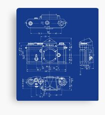 Nikon F Blueprint Vintage Classic Camera Canvas Print