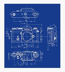 Nikon F Blueprint Vintage Classic Camera Photographic Print