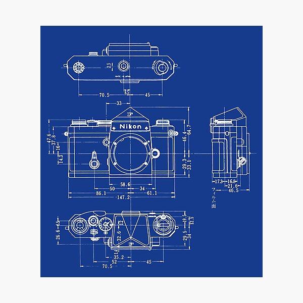 Nikon F Blueprint Vintage Classic Camera Photographic Print