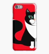 TUXEDO CAT ON RED BACKGROUND iPhone Case/Skin
