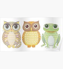 Cat Owl Frog Poster