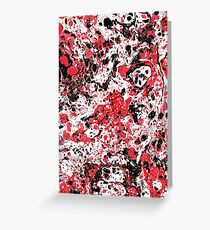 Red and Black ebru marbling abstract painting Greeting Card