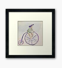 Vintage pin up cartoon penny farthing  Framed Print