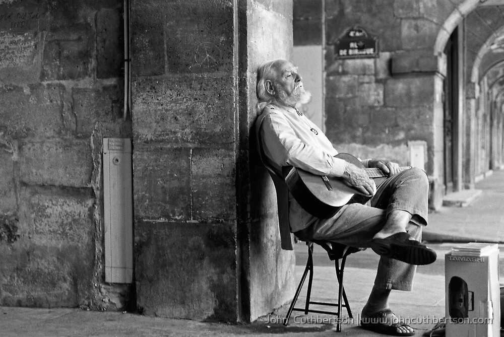 Man with Guitar, Paris by John  Cuthbertson | www.johncuthbertson.com