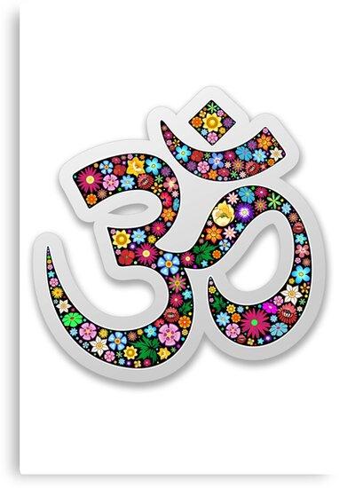 Namaste Floral Yoga Symbol  by BluedarkArt