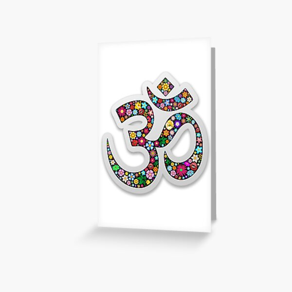 Namaste Floral Yoga Symbol  Greeting Card