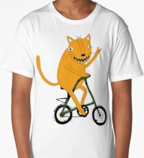 Funny cat on strida bike Long T-Shirt