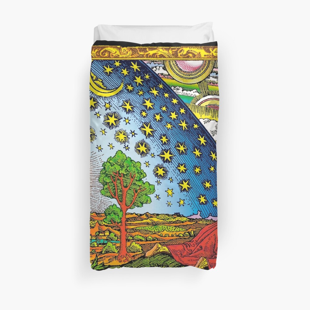 Flammarion engraving in Color Duvet Cover
