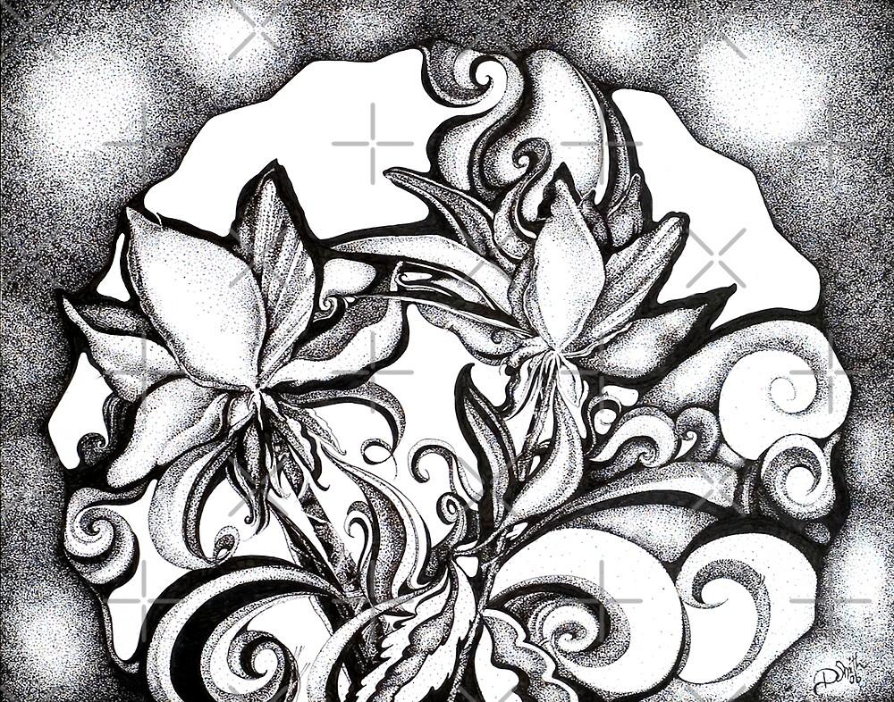 Lily Garden, Ink Pointillism Drawing by Danielle Scott
