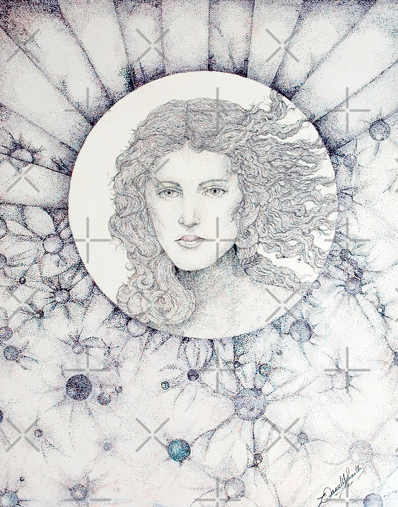 The Goddess, Ink Pointillism Drawing by Danielle Scott