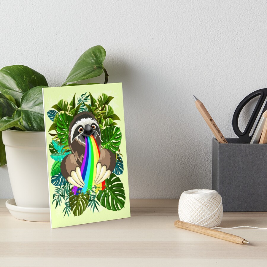 Sloth Spitting Rainbow Colors Art Board Print