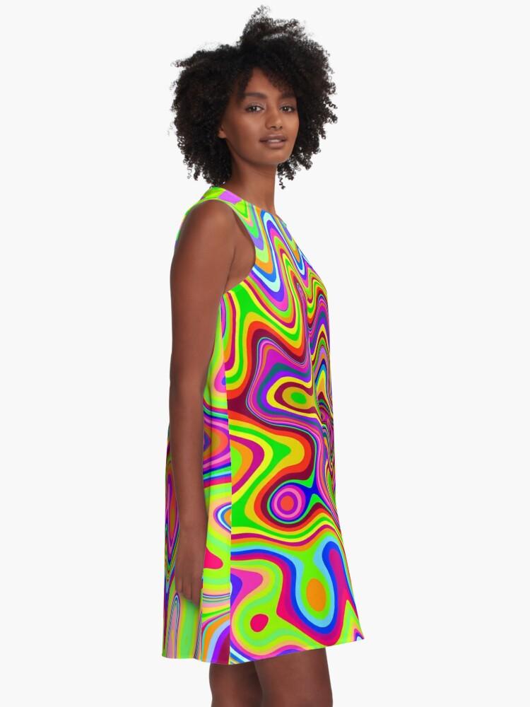 Vista alternativa de Vestido acampanado Patrón psicodélico de colores brillantes
