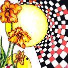 Shaded Iris, Mixed Media by Danielle Scott