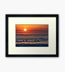 Surfer Sunset Framed Print