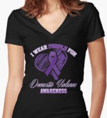 I Wear Purple For Domestic Violence Awareness Women's Fitted V-Neck T-Shirt