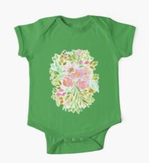 Flowers in Watercolor Painting One Piece - Short Sleeve