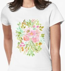 Flowers in Watercolor Painting Womens Fitted T-Shirt