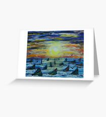 Rainbow Finned Sharks at Sunset Greeting Card