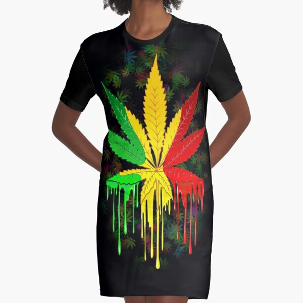 Marijuana Leaf Rasta Colors Dripping Paint Graphic T-Shirt Dress