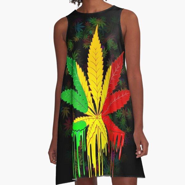 Marijuana Leaf Rasta Colors Dripping Paint A-Line Dress
