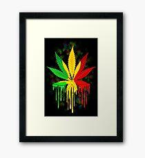 Marijuana Leaf Rasta Colors Dripping Paint Framed Print