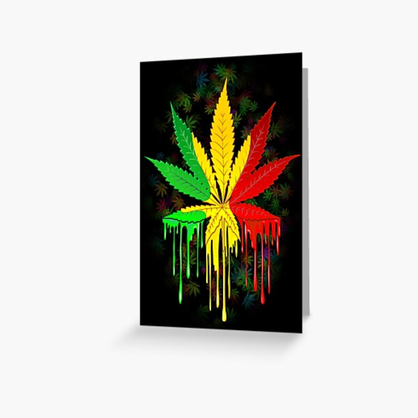 Marijuana Leaf Rasta Colors Dripping Paint Greeting Card
