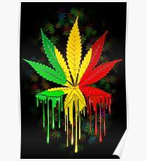 marijuana leaf rasta colors dripping paint poster
