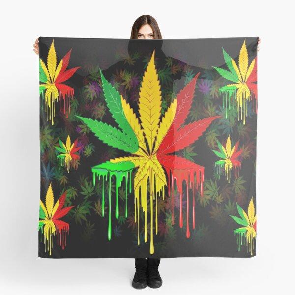 Marijuana Leaf Rasta Colors Dripping Paint Scarf