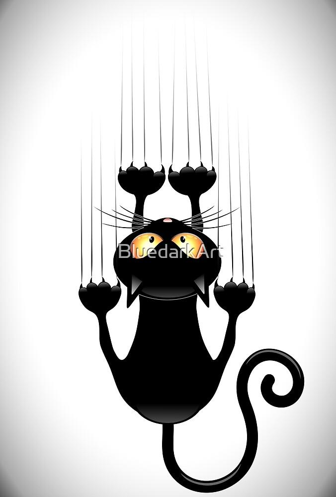 Fun Cat Cartoon Scratching Wall by BluedarkArt