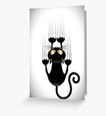 Fun Cat Cartoon Scratching Wall Greeting Card