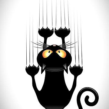 Black Cat Cartoon Scratching Wall by BluedarkArt