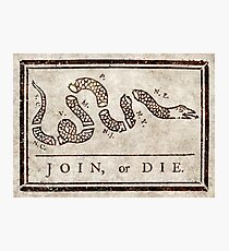 Join or die, Benjamin Franklin's historical warning Photographic Print