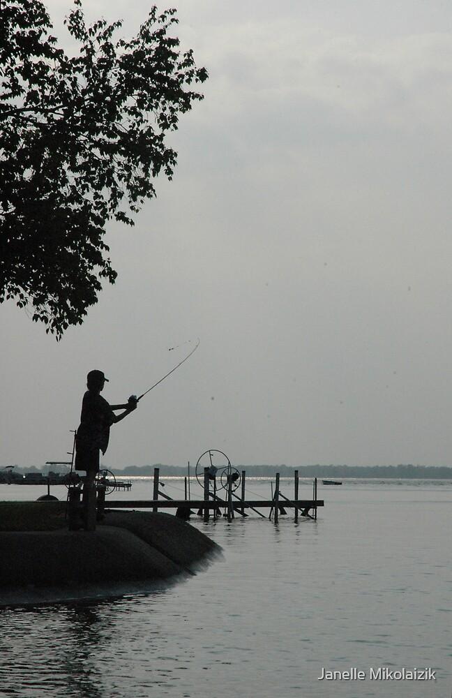 Lone Fisherman  by Janelle Mikolaizik