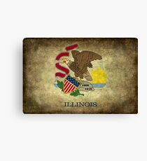 State flag of Illinois with grungy vintage textures Canvas Print