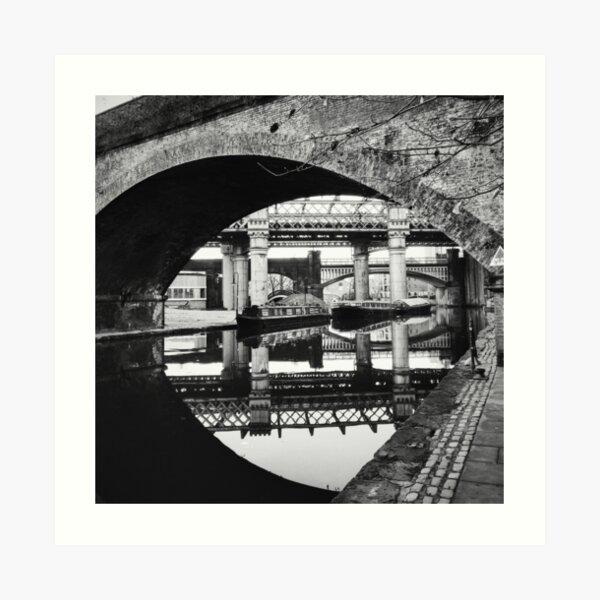 Bridges of Castlefield in black and white Art Print
